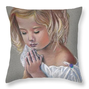 Child In Prayer Throw Pillow by Tonya Butcher