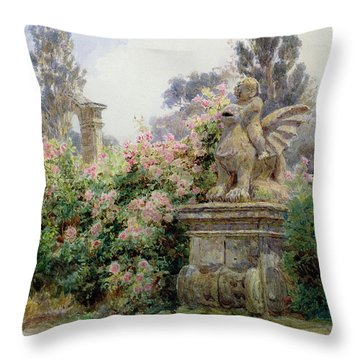 China Roses Villa Imperiali Genoa Throw Pillow by George Samuel Elgood