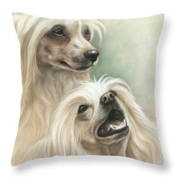 Chinese Crested Throw Pillow by Tobiasz Stefaniak