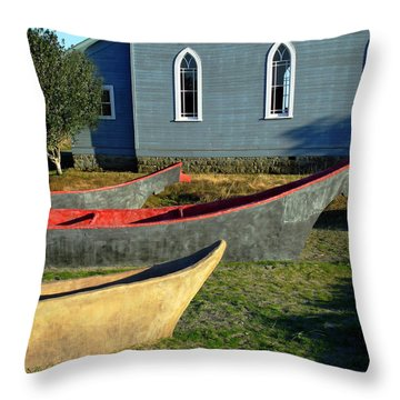 Chinook Canoes Throw Pillow by Pamela Patch