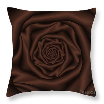 Chocolate Rose Spiral Throw Pillow by Colin  Forrest