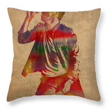 Chris Martin Coldplay Watercolor Portrait On Worn Distressed Canvas Throw Pillow by Design Turnpike