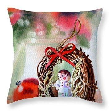 Christmas Angel Throw Pillow by Irina Sztukowski