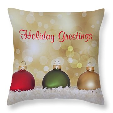 Christmas Baubles Throw Pillow by Kim Hojnacki