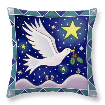 Christmas Dove  Throw Pillow by Cathy Baxter