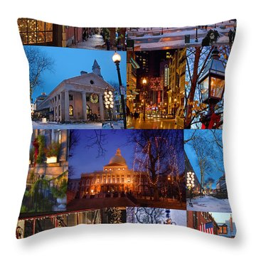 Christmas In Boston Throw Pillow by Joann Vitali