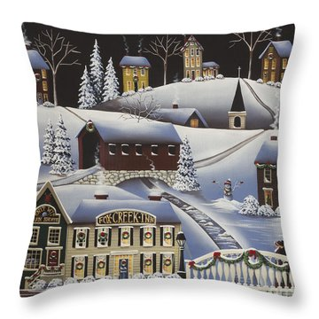 Christmas In Fox Creek Village Throw Pillow by Catherine Holman