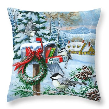 Christmas Mail Throw Pillow by Richard De Wolfe