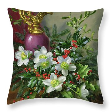 Christmas Roses Throw Pillow by Albert Williams