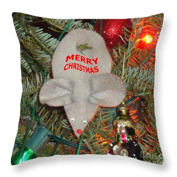 Christmas Tree Mouse Throw Pillow by Joseph Baril
