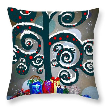 Christmas Tree Swirls And Curls Throw Pillow by Eloise Schneider