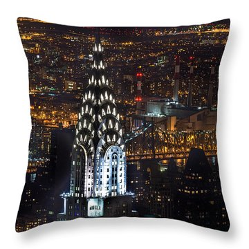 Chrysler Buiilding Throw Pillow by John Farnan
