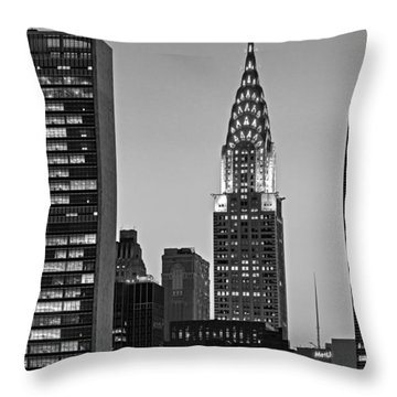 Chrysler Building New York City Bw Throw Pillow by Susan Candelario