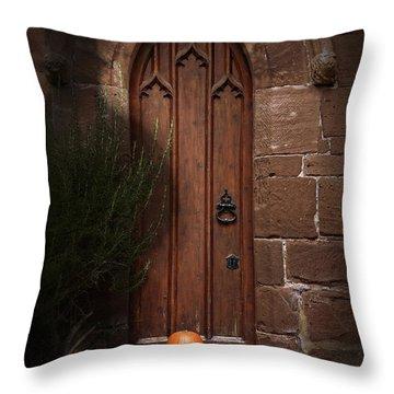 Church Door At Halloween Throw Pillow by Amanda Elwell