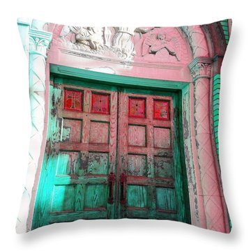 Church Door Throw Pillow by Becky Lupe