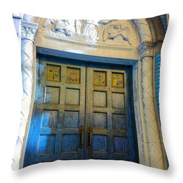 Church Door II Throw Pillow by Becky Lupe