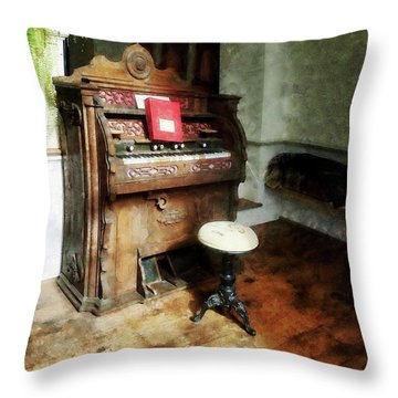 Church Organ With Swivel Stool Throw Pillow by Susan Savad