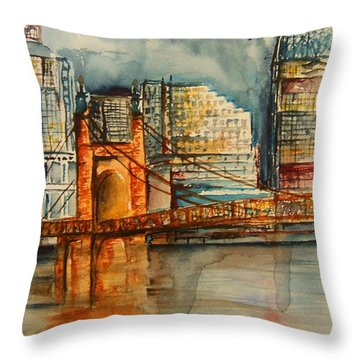 Cincinnati At Dusk Throw Pillow by Elaine Duras