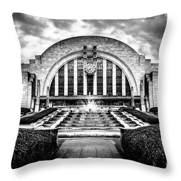 Cincinnati Museum Center Black And White Picture Throw Pillow by Paul Velgos