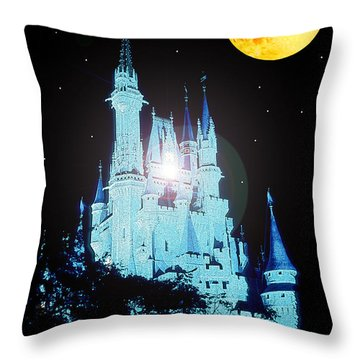 Throw Pillow featuring the digital art Cinderella's Castle And Full Moon by A Gurmankin