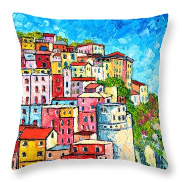 Cinque Terre Italy Manarola Colorful Houses  Throw Pillow by Ana Maria Edulescu