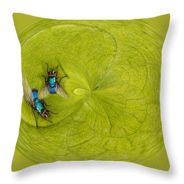 Circle Of Flies Throw Pillow by Jean Noren