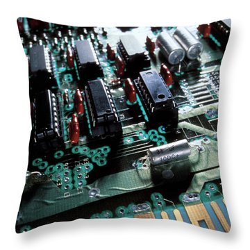 Circuit Board Throw Pillow by Jerry McElroy