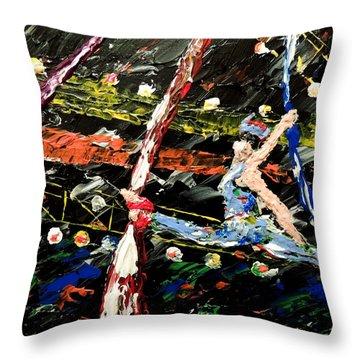 Cirque Du Soleil Silks Throw Pillow by Mark Moore