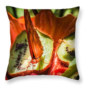 Citrus Butterfly Throw Pillow by Karen Wiles
