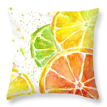 Citrus Fruit Watercolor Throw Pillow by Olga Shvartsur