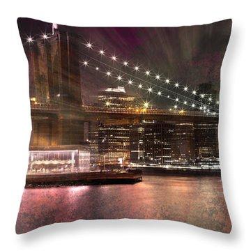 City-art Brooklyn Bridge Throw Pillow by Melanie Viola