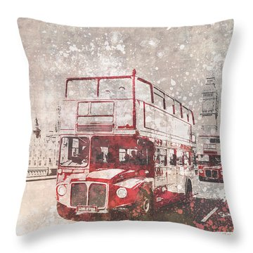 City-art London Red Buses II Throw Pillow by Melanie Viola