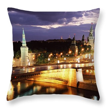 City Lit Up At Night, Red Square Throw Pillow by Panoramic Images