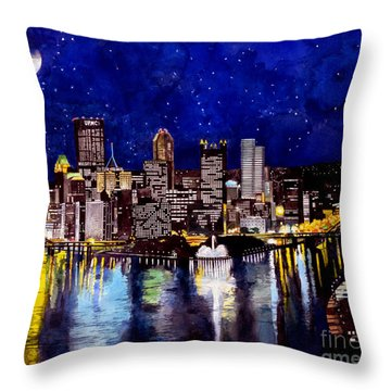 City Of Pittsburgh At The Point Throw Pillow by Christopher Shellhammer