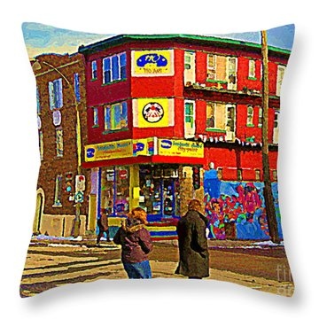 City Paint Benjamin Moore Rue Rachel And Hotel And De Ville Montreals Oldest Paint Store  C Spandau  Throw Pillow by Carole Spandau