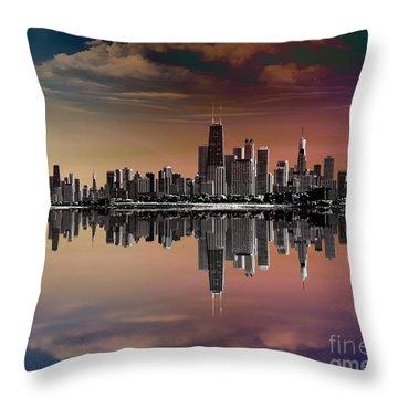 City Skyline Dusk Throw Pillow by Bedros Awak