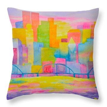 City To Dye For Throw Pillow by Rhonda Leonard