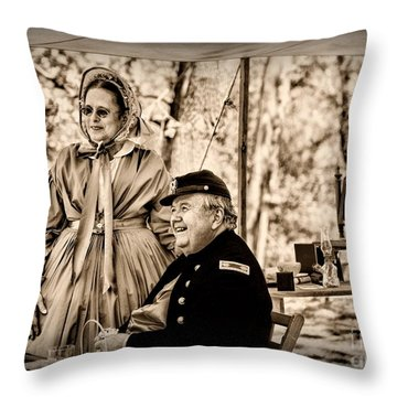 Civil War Officer And Wife Throw Pillow by Paul Ward
