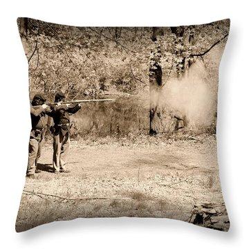 Civil War Soldiers Firing Muskets Throw Pillow by Paul Ward