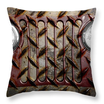 Civilian Jeep- Maroon Throw Pillow by Luke Moore