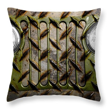 Civilian Jeep- Olive Green Throw Pillow by Luke Moore