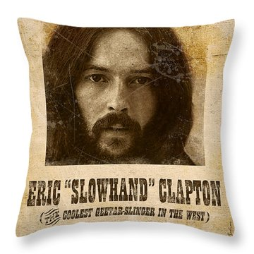 Clapton Wanted Poster Throw Pillow by Gary Bodnar