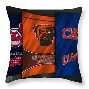 Cleveland Sports Teams Throw Pillow by Joe Hamilton