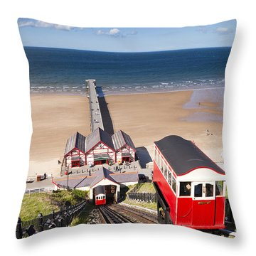 Cliff Railway Saltburn By The Sea Throw Pillow by Colin and Linda McKie