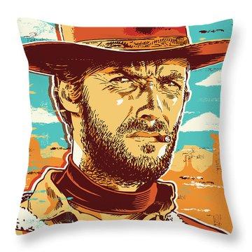 Clint Eastwood Pop Art Throw Pillow by Jim Zahniser