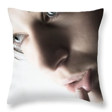Close Up Of Beautiful Female Model Throw Pillow by Michal Bednarek