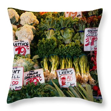 Close-up Of Pike Place Market, Seattle Throw Pillow by Panoramic Images
