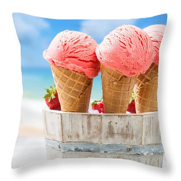 Close Up Strawberry Ice Creams Throw Pillow by Amanda Elwell