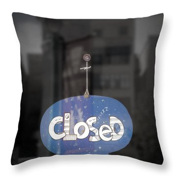 Closed Sleep Tight Throw Pillow by Scott Norris
