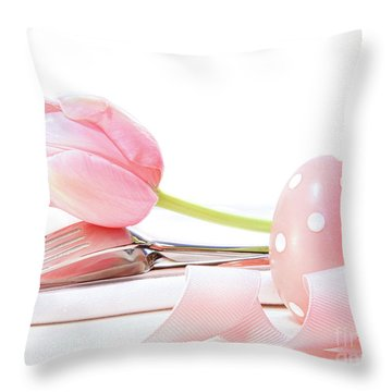 Closeup Of Tulip And Utensils On Pale Pink Throw Pillow by Sandra Cunningham